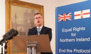 Jeffrey Donaldson speaking at a fringe event at the Conservative conference in Manchester.