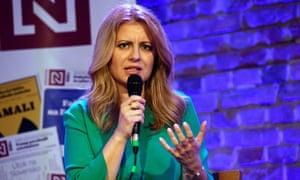 Candidate Zuzana Čaputová attends a political debate ahead of Slovakia's presidential elections