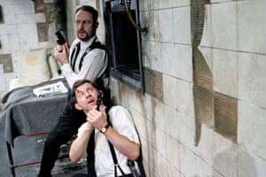 The Dumb WaiterJason Isaacs (Ben) and Lee Evans (Gus); directed by Harry Burton and designed by Peter McKintosh. Trafalgar Studios, London, 2007.