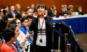 Felarca, seen here at a University of California regents meeting, condemned charges against protesters: 'It is clearly a witch-hunt.'