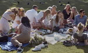 A picnic during the annual midsummer celebrations in Stockholm