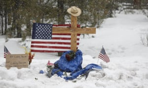 A memorial for Robert 'LaVoy' Finicum is seen where he was shot and killed by law enforcement on a highway north of Burns, Oregon.