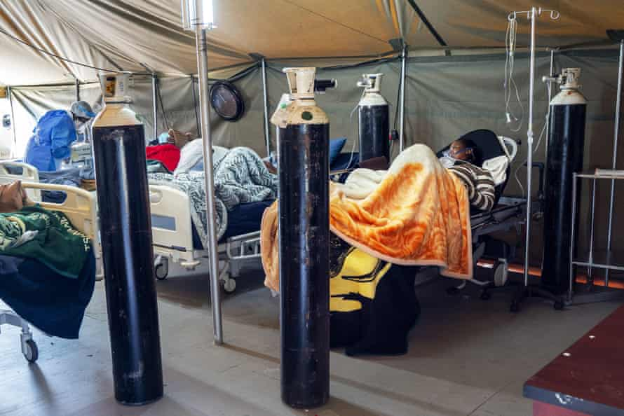 Covid-19 patients being treated with oxygen at the Tshwane District Hospital in Pretoria, South Africa.