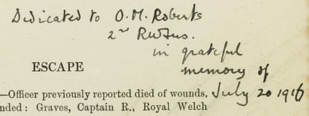Robert Graves' dedication to Owen M Roberts, the man who saved his life