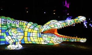 A light sculpture of a crocodile