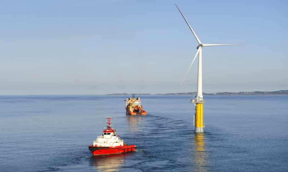 The world's first floating full-scale offshore wind turbine, pictured off the coast of Norway.