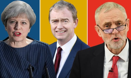 Composite, from left, of Theresa May, Tim Farron and Jeremy Corbyn