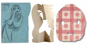 Works on paper by Pablo Picasso (l-r): Study for the Horse Head (I), Sketch for Guernica, Paris, 2 May 1937; Head of a Woman, Mougins, 4 December 1962; Mask, Paris, 1943 (fragment of a torn, printed paper tablecloth).