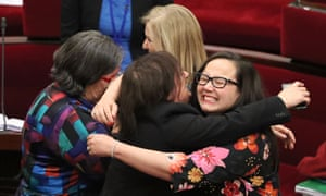 Victorian MPs Harriet Shing and Colleen Hartland react as the euthanasia bill passes the upper house.