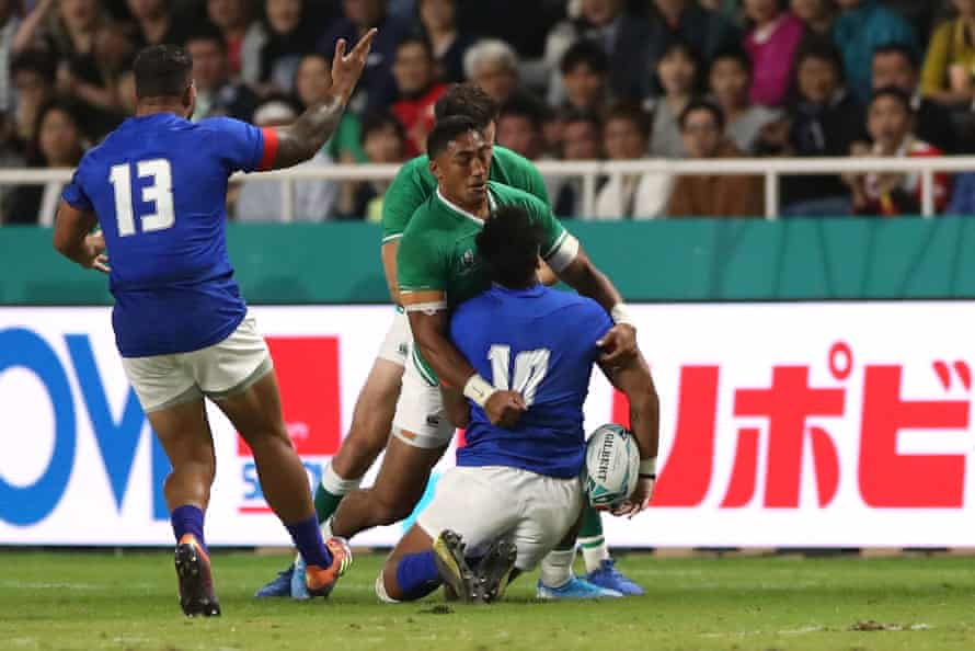 The tackle on Samoa's Ulupano Seuteni that ended the World Cup of Ireland's Bundee Aki.