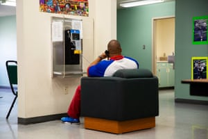 A resident talks on the phone at the McNeil Island Special Commitment center. The center is home to 214 sex offenders.