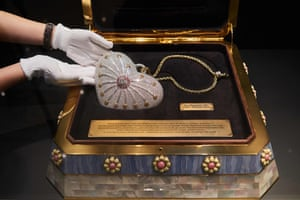 The heart-shaped Mouawad bag is displayed in its presentation case at a Christie's auction preview in Hong Kong.