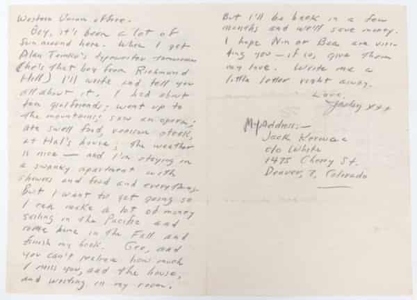 Autograph Letter Signed (ALS) to his Mother, Gabrielle Kerouac - On the Road: Kerouac, Jack. From July 1947