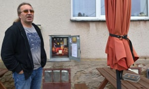Martin Povysil with his mechanical self-service pub in Uhrinovice this week.