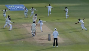 Siraj bowls Anderson to win the game for India.