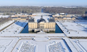 French, Seine-et-Marne, castle of Vaux-le-Vicomte, aerial view, wintertime