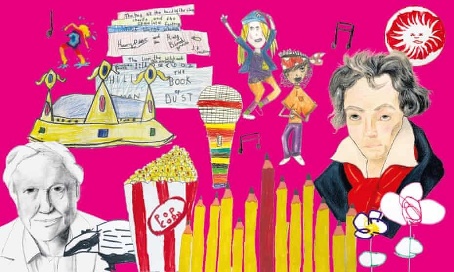 Illustrations of lockdown activities by children