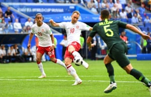 In the 7th minute, Denmark's Christian Eriksen lashes home a sweet strike to make it 1-0.