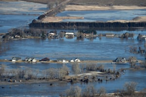 Governor Pete Ricketts and Maj. Gen. Daryl Bohac, the adjutant general for the Nebraska National Guard, conduct an aerial observation of the historic flooding conditions in portions of northeast Nebraska on March 15, 2019. With rain and snow in the forecast, hundreds are being forced to evacuate as a statewide emergency was declared.