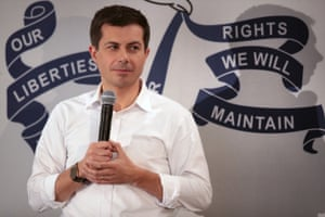 Pete Buttigieg speaks to voters during a campaign rally in Waverly, Iowa, on 3 November.