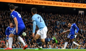 Vincent Kompany of Manchester City scores with a thunderbolt.