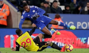 Étienne Capoue was shown a straight red card for this foul on Kelechi Iheanacho.