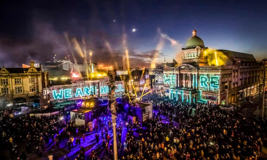 An installation titled We Are Hull by artist Zolst Balogh is projected on to buildings in the city's Queen Victoria Square.