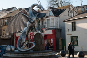 A stainless steel dragon in the centre of Ebbw Vale, Blaenau Gwent.