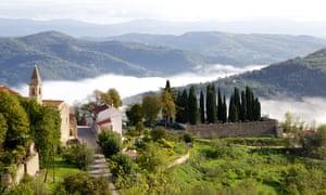 Motovun, a tiny medieval hilltop town in Istria, Croatia.