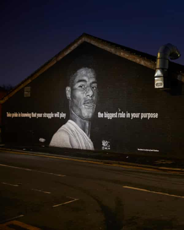 Akse's mural featuring Marcus Rashford, on the wall of the Coffee House Cafe in Withington, south Manchester.