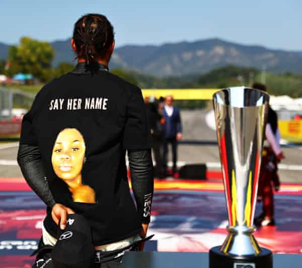 Breonna Taylor is ooctured on the baack of Hamilton's T-shirt in Tuscany.