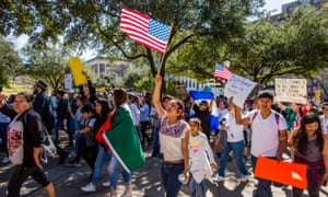 Protesters on a 'Day without Immigrants' march in Austin, Texas, February 2017
