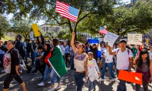 A 'day without immigrants' march on Thursday in Austin, Texas.