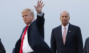 Trump waving goodbye to his friendship with Gordon Sondland.