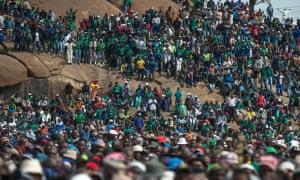 An anniversary rally to commemorate the Marikana massacre in South Africa, brilliantly covered by the Daily Maverick