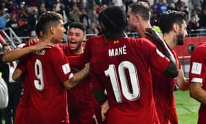 FIFA Club World Cup 2019<br>epa08080078 Roberto Firmino (L) of Liverpool FC celebrates with team mates after scoring the 1-2 goal during the FIFA Club World Cup semi final soccer match between CF Monterrey and Liverpool FC in Doha, Qatar, 18 December 2019  EPA/NOUSHAD THEKKAYIL