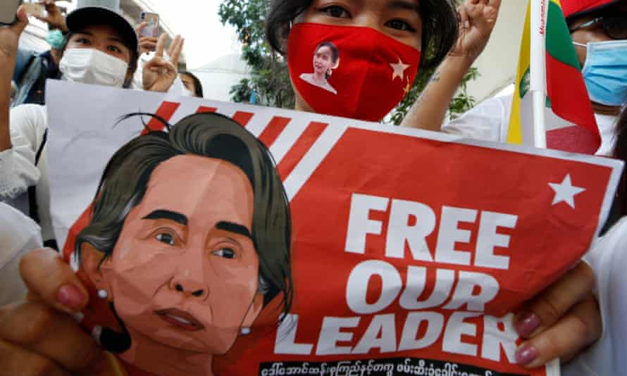 Protesters demonstrate against Myanmar's military coup in Bangkok