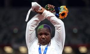 Raven Saunders gestures on the podium
