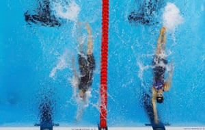 Madeline Dirado - on the right - touches the wall first to in the 200m backstroke.