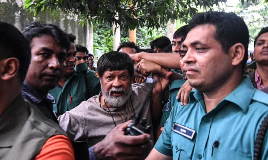 Photojournalist Shahidul Alam arrives for an appearance in court after his arrest on Sunday.