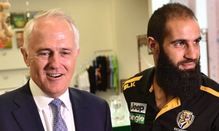 Malcolm Turnbull and Richmond AFL footballer Bachar Houli at the Islamic Museum of Australia in Thornbury before his speech to the Islamic Council of Victoria