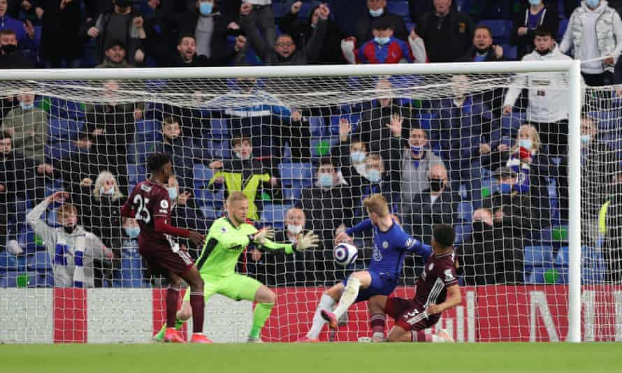 Werner thinks he has given his side the lead only for the goal to be ruled out for handball by the Chelsea striker.