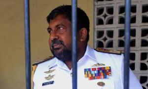 Admiral Ravindra Wijegunaratne arrives at the magistrates court in Colombo after weeks evading arrest.