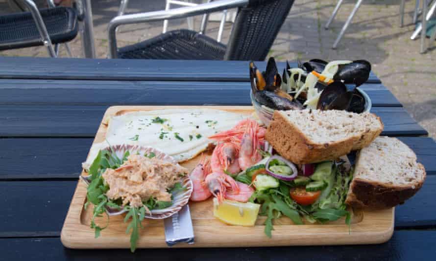 Seafood platter at Rachel's Cafe at West Bay Dorset