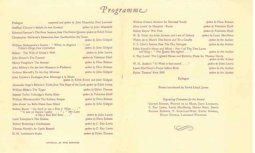 English Poetry of Many Ages, 14 May 1946