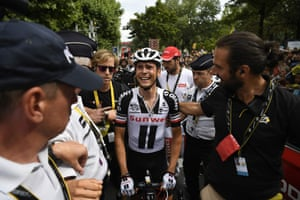 Warren Barguil cries after finishing second.