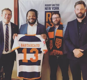 Matthieu Bastareaud poses with Pierre Arnald, James Kennedy and James English of RUNY.