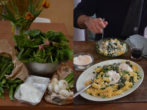 Fusilli with spring greens, fusilli and ricotta.