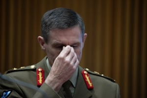 General Angus Campbell, the Australian Defence Force chief, before the foreign affairs, defence and trade committee in Parliament House this morning.