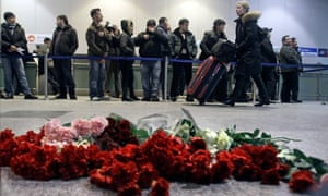 Flowers laid at Domodedovo airport the day after 37 people were killed in suicide blast in January 2011.